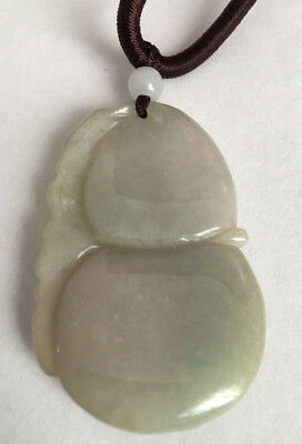 100% Natural Lavender Green Jadeite Jade Pendant Gourd 3