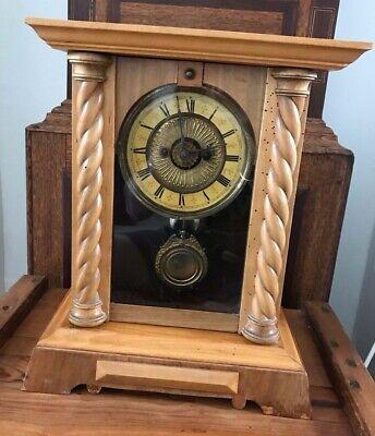 Rare Antique Wurttemburg German Beech Cased Mantle Bracket Clock 7