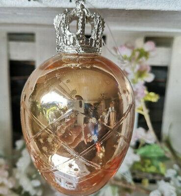 XXL ! Krone Kupfer Silber 13cm Glasei  Glas Ostereier groß Hängen Glas Ei
