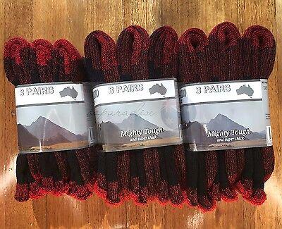 6 Pairs Heavy Duty Australian Merino Extra Thick Wool Work Socks New 2