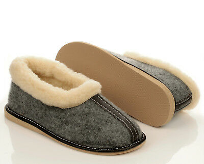DAMEN WINTER FILZ HausSchuhe Halbschuhe grau Pantoffeln