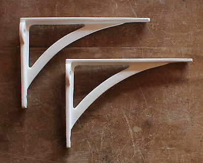 "Pair of 6"" x 4"" WHITE INDUSTRIAL ANTIQUE CAST VICTORIAN SHELF BRACKETS BR22w(x2)"