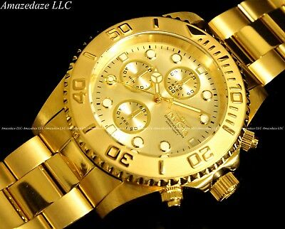 NEW Invicta Mens 18K Gold Plated Stainless Steel Golden Dial Chronograph Watch!! 4