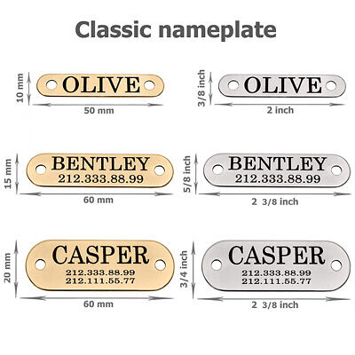 Pet ID Name Personalised Dog Tag Custom Engraved Cat Tags Stainless Steel S M L 5