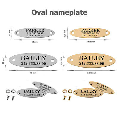 Pet ID Name Personalised Dog Tag Custom Engraved Cat Tags Stainless Steel S M L 8