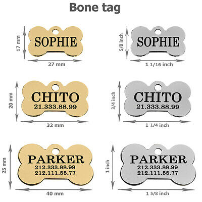 Pet ID Name Personalised Dog Tag Custom Engraved Cat Tags Stainless Steel S M L 4