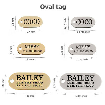 Dog ID Tag Personalized Custom Name Tags Engraving Nameplate Puppy Cat Brass 7