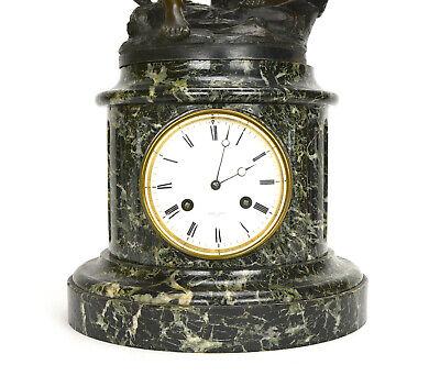 Antique French NAPOLEON III Antony Bailly Bronze Figure Marble Base Mantel Clock 8