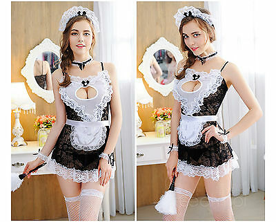 Set Costume Completino Cameriera Maid Serva Lingerie Room Service Cosplay Calze 2