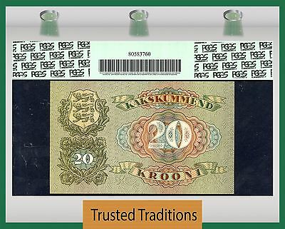 TT PK 64a 1932 ESTONIA 20 KROONI PCGS 66 PPQ GEM NEW NONE FINER!