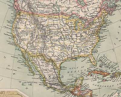 1899 VICTORIAN MAP ~ North America ~ United States Mexico ...