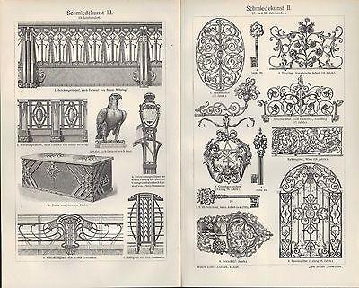 Lithografie 1907: Schmiedekunst. Schmied Kunst Metall Handwerk Tradition Arbeit 2