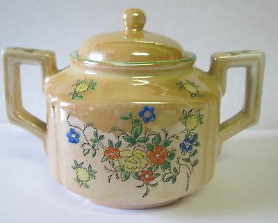 Vintage Trico Sugar Bowl Lusterware Handpainted Floral Design Nagoya Japan