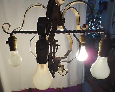Antique Brass Chandelier 5 On Off Light Fixture  Art Deco Rewired 9