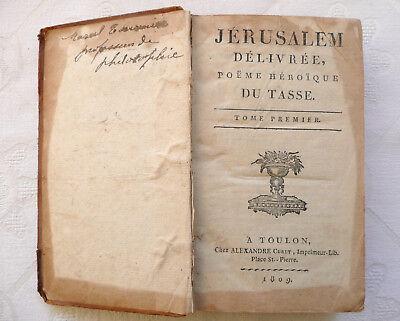 Rare Ed1809 Jerusalem Delivree Poème Héroïque Le Tasse
