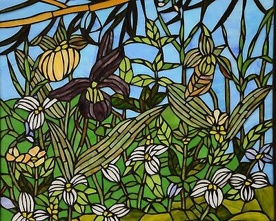 "24"" x 36"" Lily Pond Lotus Tiffany Style stained glass window panel 3"