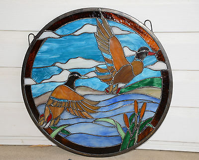 "19.75"" Dia TWO MALLARD DUCKS Round Tiffany Style Stained Glass Suncatcher Panel 8"