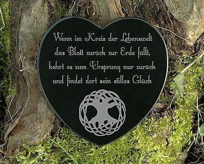 Gedenkstein Baum des Lebens Grabschmuck Herzform Marmor mit Wunschgravur 12,5 cm 2