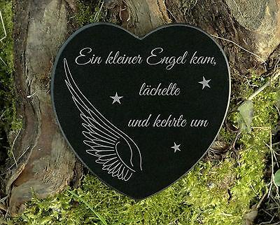 Gedenkstein kleiner Engel Grabschmuck Herzform Marmor mit Wunschgravur 12,5 cm 2