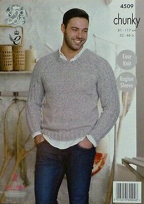 KNITTING PATTERN Mens Easy Knit Jumper & Ladies Easy Knit Cardigan Chunky 4509