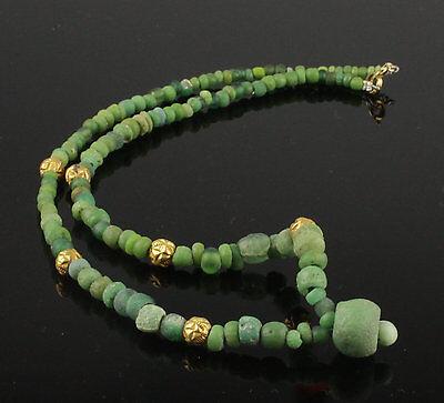 Beautiful Ancient Roman Glass & Gold Bead Necklace - Circa 2Nd Century Ad
