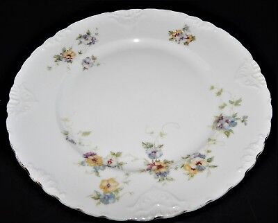 2 Herman Ohmne Silesia Germany China Dinner Plates Floral Pattern 140? Gold Trim 6