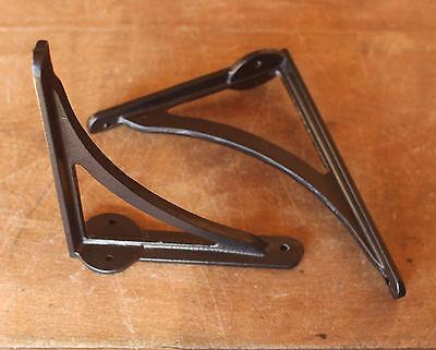 "Pair of Black 7"" ANTIQUE HEAVY CAST IRON VICTORIAN SHELF WALL BRACKETS BR08b(x2) 2"