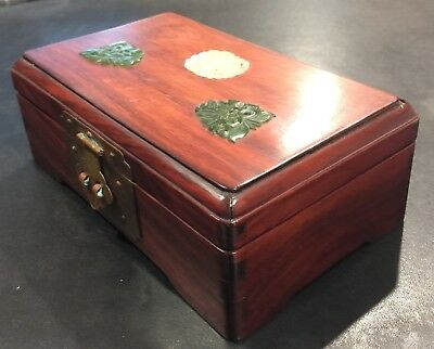 Chinese Rosewood Box with Jade Pieces on Top 2