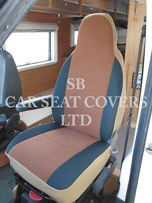 To Fit A Ford Transit Motorhome, 2004, Seat Covers, Tan Suede Mh-001, 2 Fronts 6