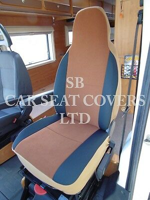 To Fit A Ford Transit Motorhome, 2004, Seat Covers, Tan Suede Mh-001, 2 Fronts 2