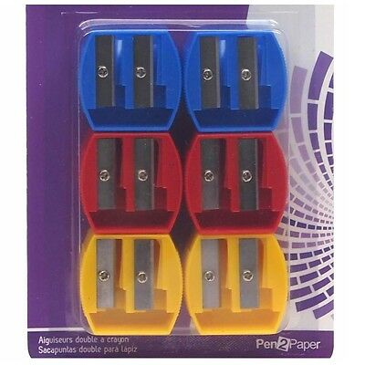 6 x Large & Small Double Pencil Sharpener Office School Stationery Thin Thick