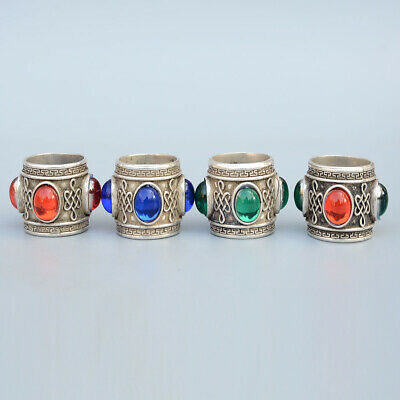 China Collectable Handwork A Set Of Miao Silver Mosaic Agate Noble Delicate Ring 2