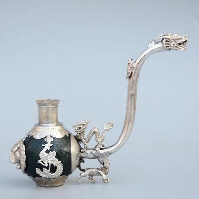 Collectable China Old Miao Silver Handwork Carve Dragon Phoenix Lion Unique Pipe 3