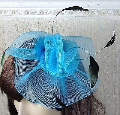 turquoise teal feather hair headband fascinator millinery wedding hat ascot 3