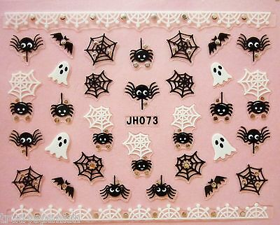 Halloween Nail Art Stickers Decals Transfers Spiders Web Skull Bones