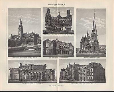 Lithografie 1906: Hamburger Bauten. HAMBURG Alsterdamm Eimsbüttel Holstenplatz 2