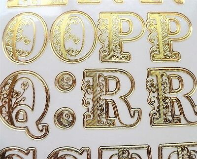 EMBOSSED FLOURISH ALPHABET LETTERS Peel Off Stickers Gold on Clear 25mm Filgree