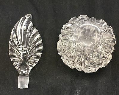 Vintage Crystal Clear Heavy Glass Feather Shape Perfume Bottle Vanity Decanter 6