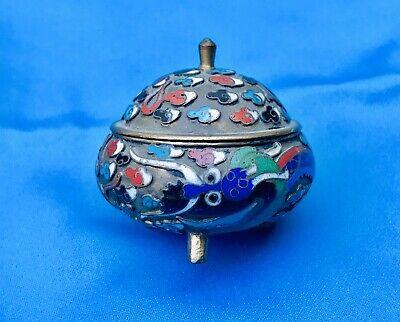 Antique Asian Cloisonne Enamel Miniature Trifooted Jar Trinket Box W Lid Censer 2