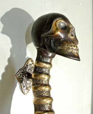 medium SKULL handle DOOR PULL spine solid BRASS old vintage bronze style 28cm B 4