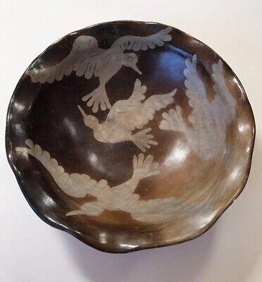 Peru Chulucanas Pottery Bird Bowl Signed S Moncada Precolumbian Technique Vtg 3