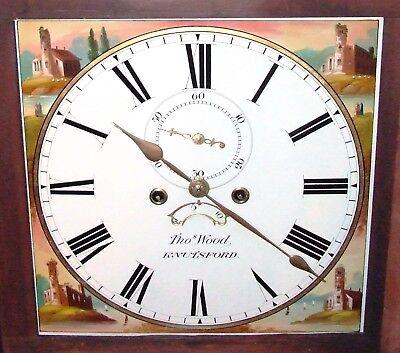 ~ Antique Oak & Mahogany Inlaid Grandfather Longcase Clock : WOOD KNUTSFORD 3