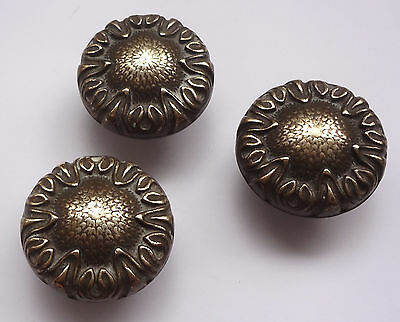 Lot 3 Vintage Solid Brass Pull handles Knobs 1 3/4'' + Backplates  Free Shipping 2