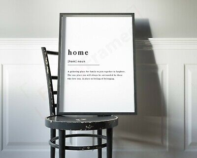 Home Definition Noun Print Framed Typography Poster Black White WordArt Picture 2