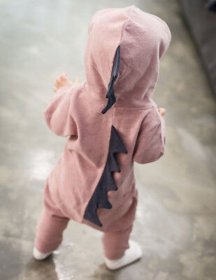 Newborn Infant Baby Boy Girl Kids Dinosaur Hooded Romper Jumpsuit Clothes Outfit 3