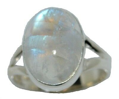 925 Sterling SILVER Rainbow Moonstone Ring Real Gemstone Jewellery, Sizes L to Z 2
