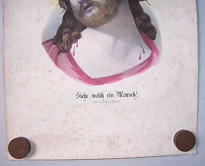 """Kolo. Lithografie Jesus """" Siehe welch ein Mensch """" Görnert Dresden um 1870 deko"""