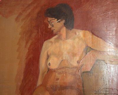 Vintage European large oil painting nude 11