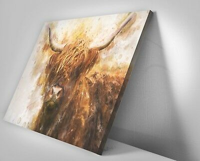 Highland Cow Watercolour Painting Canvas Print Framed Wall Art Picture .6