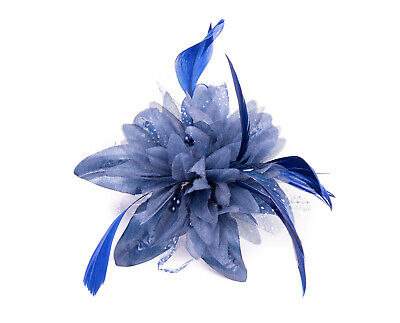 Navy Blue Feather Comb Fascinator Wedding Races Proms Bridal Hair Accessory 3 2